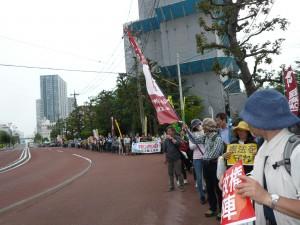 豊洲コースのデモ行進