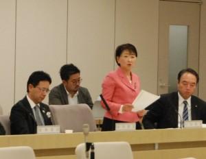 豊洲市場移転問題特別委員会で質疑する都議の小松久子